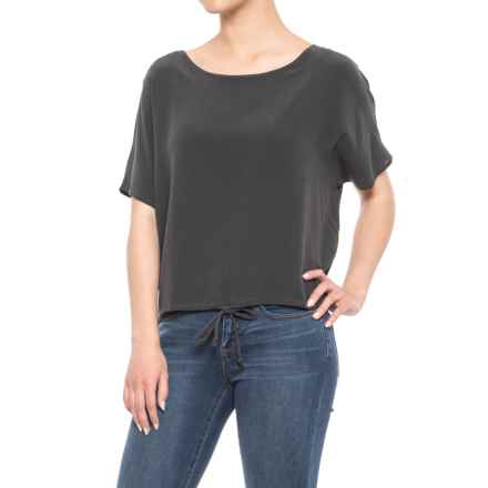 Chaser Silk Basics Drawstring Dolman T-Shirt - Short Sleeve (For Women) in Vintage Black - Closeouts