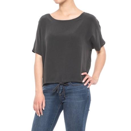 Chaser Silk Basics Drawstring Dolman T-Shirt - Short Sleeve (For Women) in Vintage Black