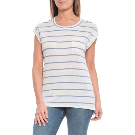 f85537f9e4 Chaser Striped Linen Jersey Shirt - Short Sleeve (For Women) in Stripe -  Closeouts