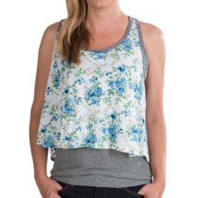 Chaser Vintage Floral Crop Tank Top (For Women) in White - Closeouts