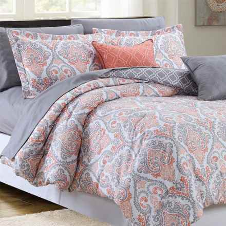 CHD Home Anastasia Comforter Set - Queen, 9-Piece in Coral - Closeouts