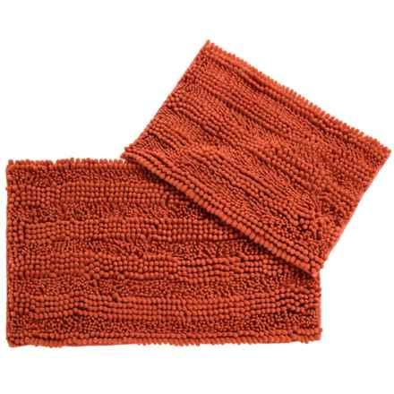 CHD Home Atlanta Chenille Bath Rugs - Set of 2 in Dark Coral - Closeouts