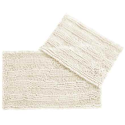 CHD Home Atlanta Chenille Bath Rugs - Set of 2 in Ivory - Closeouts