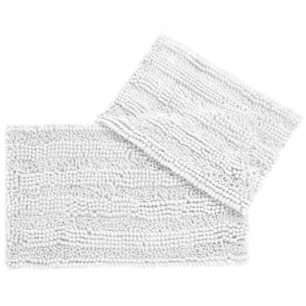 CHD Home Atlanta Chenille Bath Rugs - Set of 2 in White - Closeouts