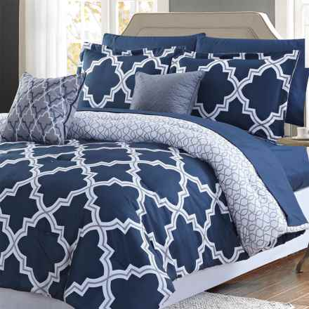 CHD Home Chatham Comforter Set - Queen, 9-Piece in Navy - Closeouts