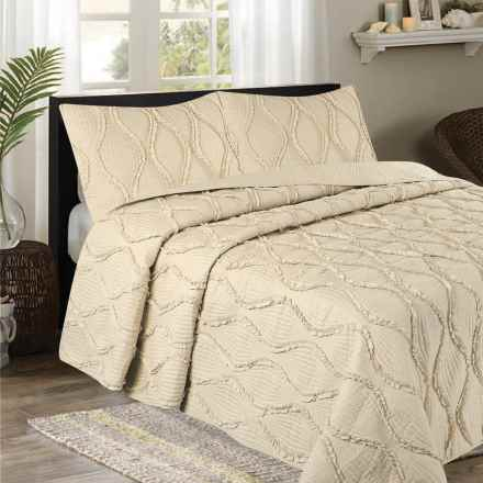 CHD Home Grace Collection Ruffle Quilt Set - King, 3-Piece in Linen - Overstock
