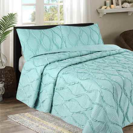 CHD Home Grace Collection Ruffle Quilt Set - Queen, 3-Piece in Blue - Overstock