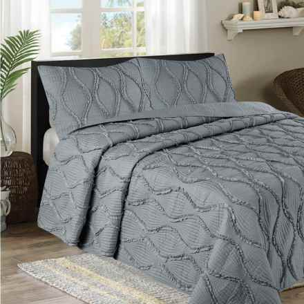CHD Home Grace Collection Ruffle Quilt Set - Queen, 3-Piece in Grey - Overstock