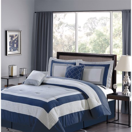 CHD Home Landon Collection Comforter Set - King, 5-Piece in Navy