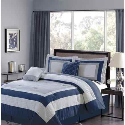 CHD Home Landon Collection Comforter Set - Queen, 5-Piece in Navy - Overstock