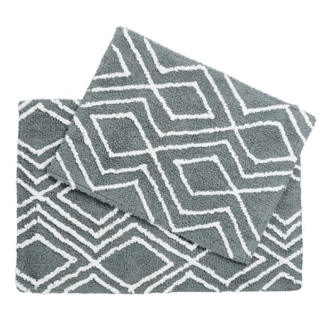 CHD Home Lima Collection Bath Rugs - Set of 2 in Grey/White
