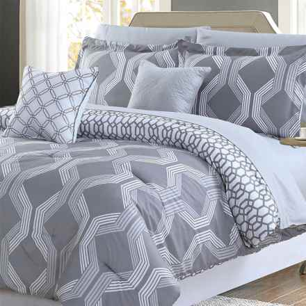 CHD Home Taylor Comforter Set - Queen, 9-Piece in Grey - Closeouts