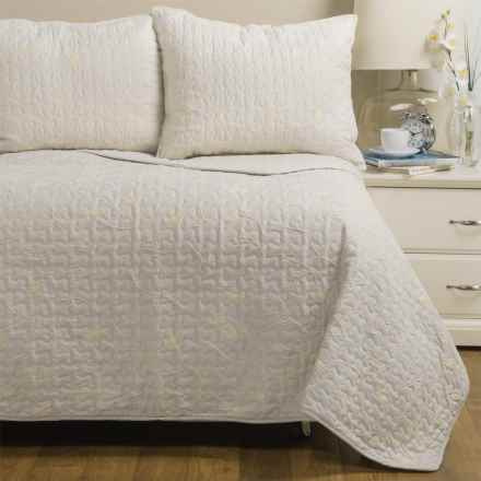 CHD Home Tuscany Embroidered Quilt Set - Full-Queen in White - Closeouts