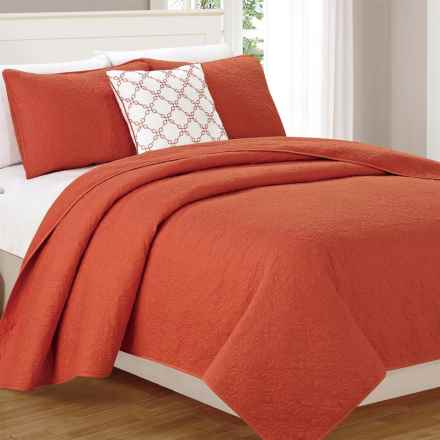 CHD Home Wakefield Cotton Quilt Set - Queen, 4-Piece in Paprika - Closeouts