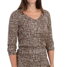 Checkered Mesh Nylon Shirt - Shirred Details, Long Sleeve (For Women) in Brown/White - 2nds