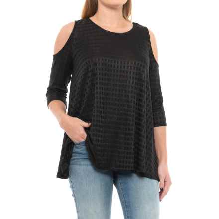 Chelsea & Theodore Cold-Shoulder Swing Shirt - 3/4 Sleeve (For Women) in Black - Closeouts
