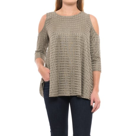 Chelsea & Theodore Cold-Shoulder Swing Shirt - 3/4 Sleeve (For Women) in Gold