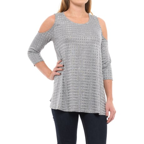 Chelsea and Theodore Cold-Shoulder Swing Shirt - 3/4 Sleeve (For Women)