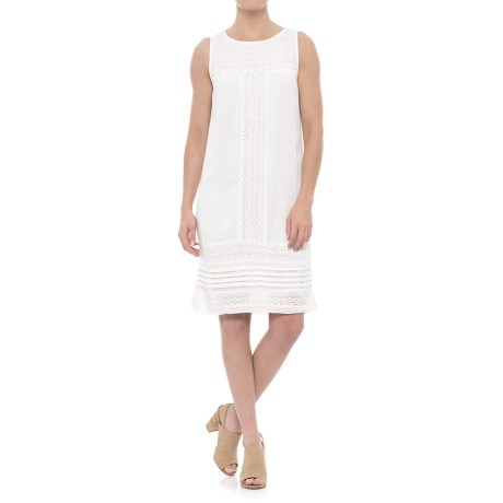 Chelsea & Theodore Embroidered Mesh Dress - Sleeveless (For Women) in Ivory