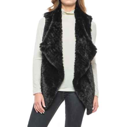 Chelsea & Theodore Faux-Fur Vest - Crossover Front, Knit Back (For Women) in Black - Closeouts