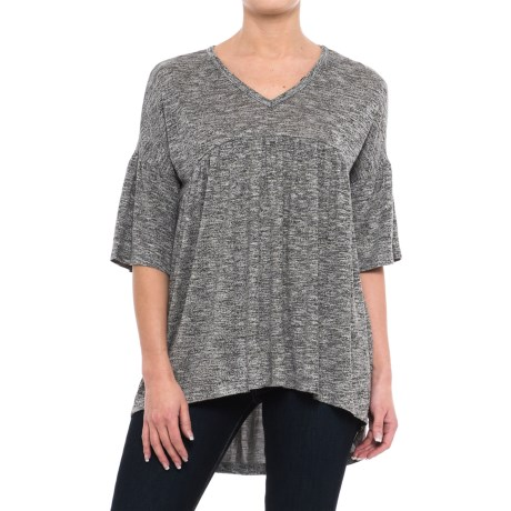Chelsea & Theodore Flounce Sleeve Shirt - V-Neck, Elbow Sleeve (For Women) in Grey