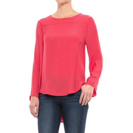 Chelsea & Theodore High-Low Blouse - Open Back, Long Sleeve (For Women) in Red