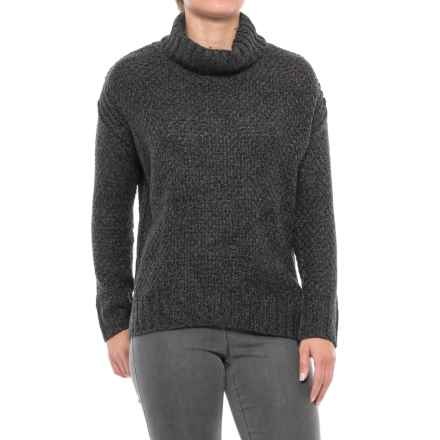 Chelsea & Theodore High-Low Turtleneck Sweater (For Women) in Grey Marled Combo - Closeouts