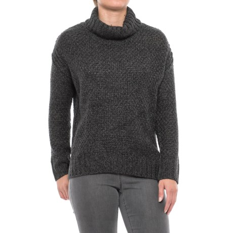 Chelsea & Theodore High-Low Turtleneck Sweater (For Women) in Grey Marled Combo