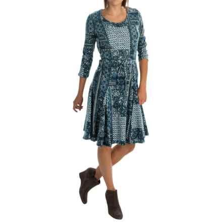 Chelsea & Theodore Jersey Cotton Dress - Scoop Neck, 3/4 Sleeve (For Women) in Batik Blue Patch - Overstock