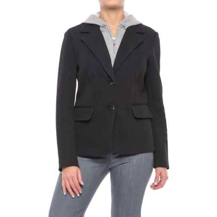 Chelsea & Theodore Knit Blazer with Removable Hooded Placket (For Women) in Black/Mist Grey Heather - Closeouts