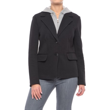 Chelsea & Theodore Knit Blazer with Removable Hooded Placket (For Women) in Black/Mist Grey Heather