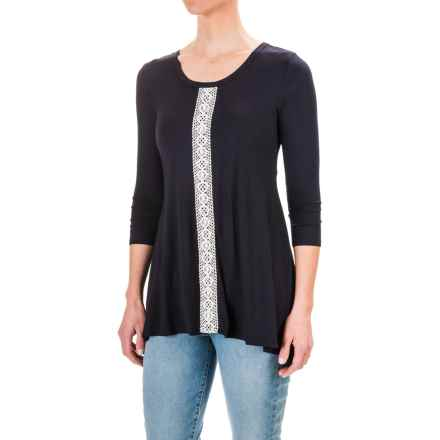 Chelsea & Theodore Lace Trim Shirt - 3/4 Sleeve (For Women) in Nightlife/Ivory - Closeouts