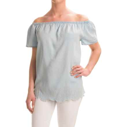Chelsea & Theodore Off-the-Shoulder Chambray Embroidered Shirt - TENCEL®, Short Sleeve (For Women) in Light Blue Bleach - Closeouts
