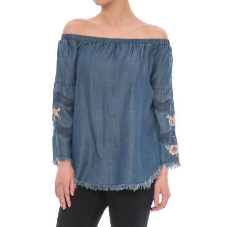 Chelsea and Theodore Off-the-Shoulder Embroidered Shirt - 3/4 Sleeve (For Women)