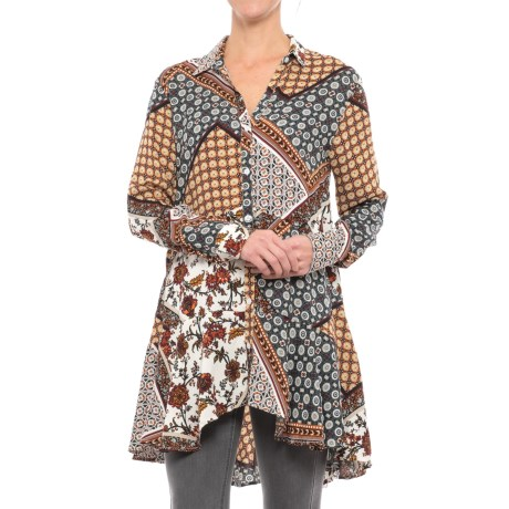 Chelsea & Theodore Peplum Tunic Shirt - Rayon, Long Sleeve (For Women) in Rust Print