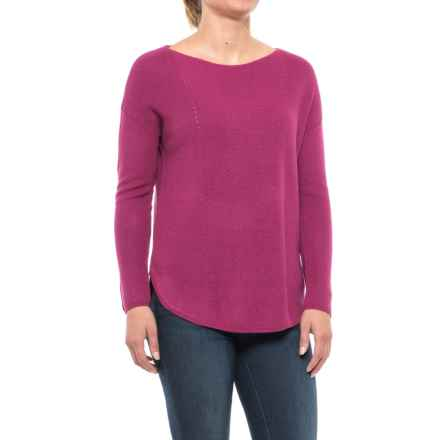 Chelsea & Theodore Pointelle Detail Sweater (For Women) in Magnificent Magenta - Closeouts