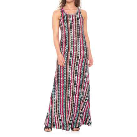 Chelsea & Theodore Racerback Printed Maxi Dress - Sleeveless (For Women) in Vertical Stripe Print - Closeouts