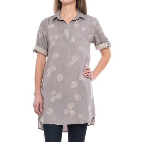 Chelsea & Theodore Roll-Tab Tunic Shirt - Short Sleeve (For Women) in Grey/Blush