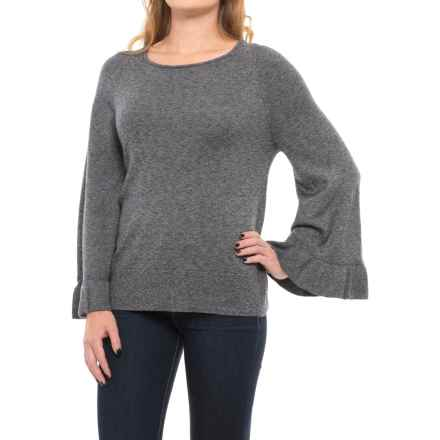 Chelsea & Theodore Ruffled-Sleeve Sweater (For Women) in Black White Twist - Closeouts