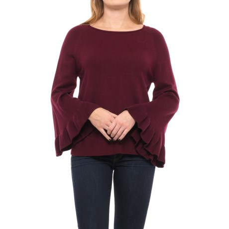 Chelsea & Theodore Ruffled-Sleeve Sweater (For Women) in Red Wine Heather