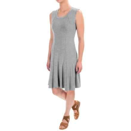Chelsea & Theodore Stretch Flared Dress - Sleeveless (For Women) in Mist Grey Heather - Closeouts