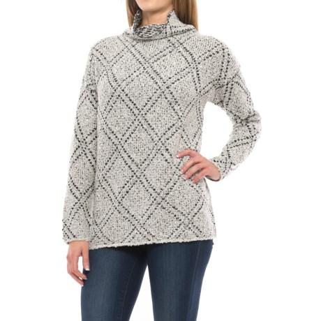 Chelsea & Theodore Turtleneck Sweater (For Women) in Grey/Black