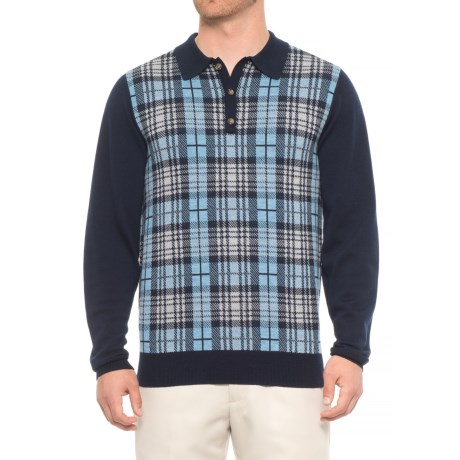 Image of Cheshire Plaid Polo Sweater (For Men)