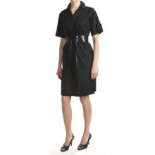 Chetta B Belted Shirt Dress - Stretch Cotton, Short Sleeve (For Women) in Black - Closeouts