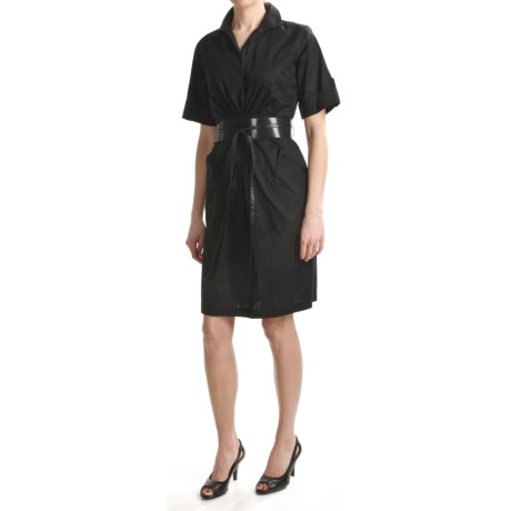 Chetta B Belted Shirt Dress - Stretch Cotton, Short Sleeve (For Women) in Black