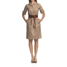 Chetta B Belted Shirt Dress - Stretch Cotton, Short Sleeve (For Women) in Khaki - Closeouts