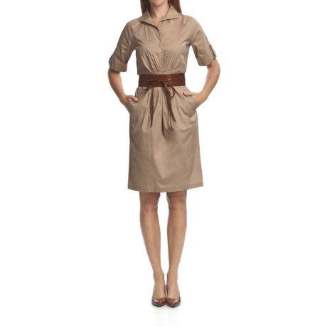 Chetta B Belted Shirt Dress - Stretch Cotton, Short Sleeve (For Women) in Khaki