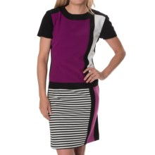 Chetta B Color-Block Crepe Dress - Short Sleeve (For Women) in Black/Boysenberry - Closeouts