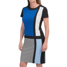 Chetta B Color-Block Crepe Dress - Short Sleeve (For Women) in Black/Pacific - Closeouts