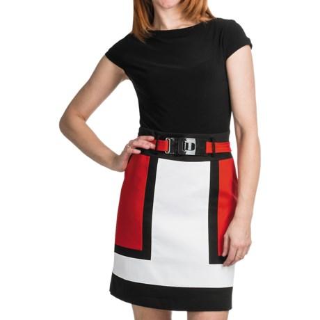 Chetta B Color-Block Dress - Short Sleeve (For Women) in Black/Red Multi